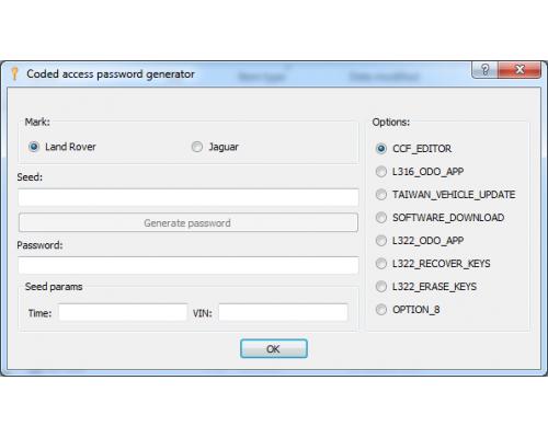 Калькулятор кодированного доступа  JLR SDD