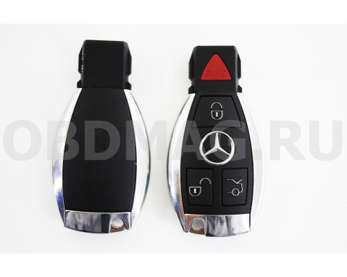 Корпус смарт ключ Mercedes 3 кнопки+паника с крышкой под батарейку